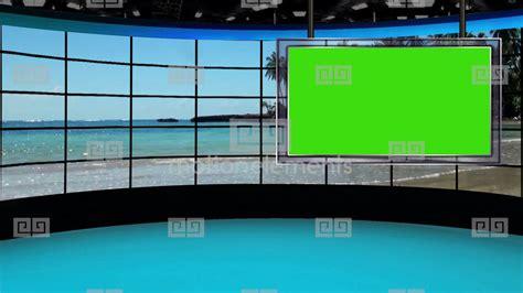 hd news  tv virtual studio green screen background beach