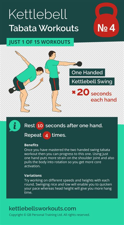 tabata workout kettlebell workouts swing routines hiit body training cardio single fitness burn handed