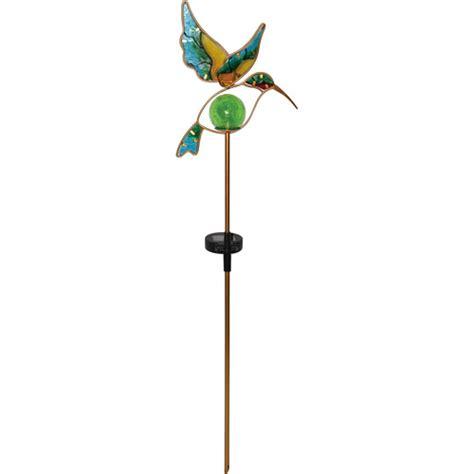 moonrays 91444 solar powered glass hummingbird stake light