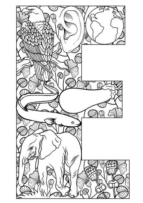 Kleurplaat E by Coloring Page Adults Letter E Alphabet Alfabet