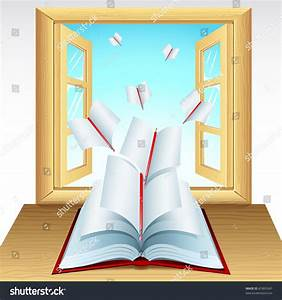 Illustration Of Pages Of Open Book Flying Outside Window ...