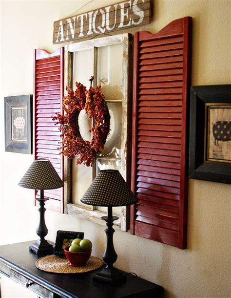 The wall mounted flat screen tv has become a contender for the feature wall of our living room, in place of a fireplace, so how do we decorate the space it occupies? 7 Inspiring Ways to Use Vintage Shutters on Your Walls