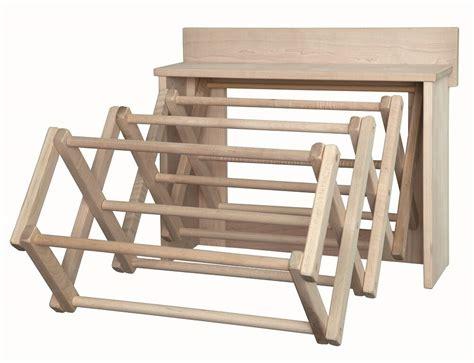 drying rack wall unit amish handmade folding  dowel maple laundry hanger usa ebay