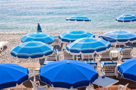 Blue Beach Umbrellas In Nice Stock Photo Image 52805928