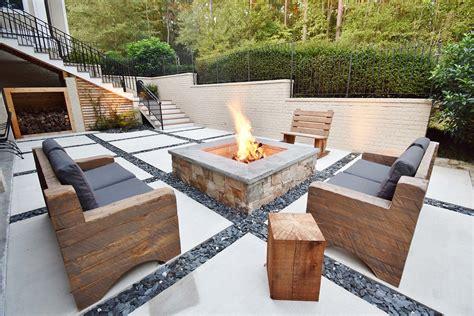 concrete squares  slate chips patio  custom fire pit