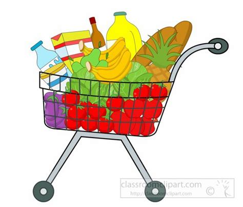 Grocery Store Clipart Trolley Clipart Food Shopping Pencil And In Color