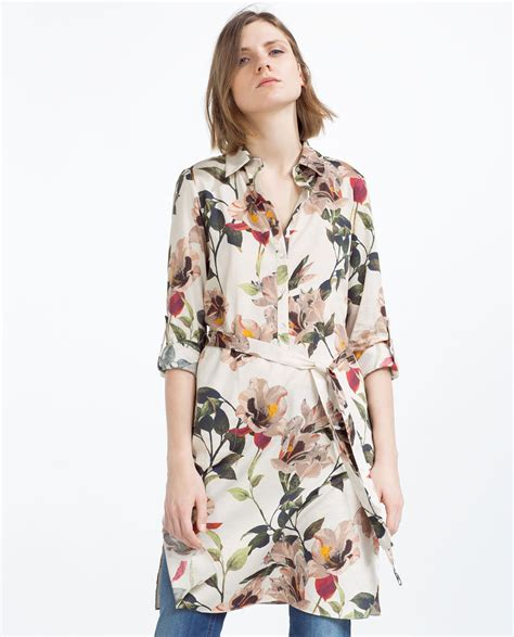 printed tunic with slits view all zara