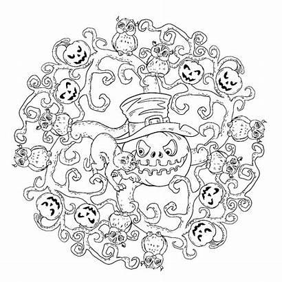 Halloween Mandala Coloring Mandalas Cat Kleurplaten Printable