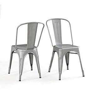 bistro dining chair solid steel set of 2