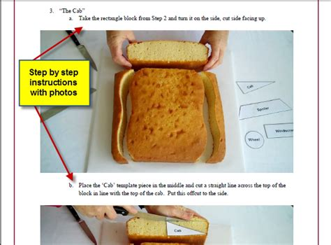 car cake template  tutorial novelty birthday cakes