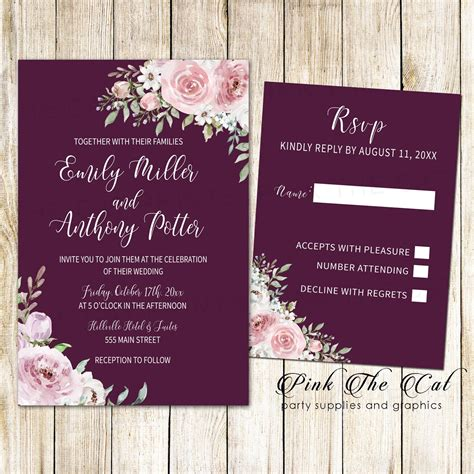 Wedding invitations floral burgundy blush pink & RSVP