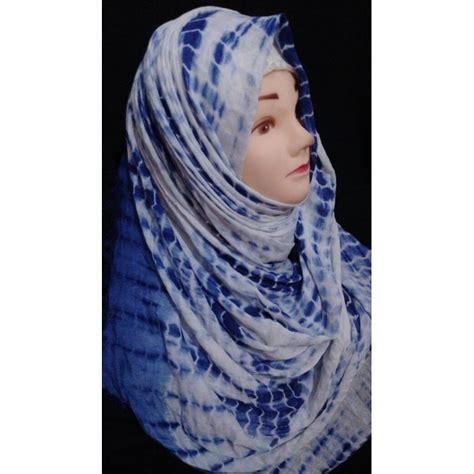 hijab blue chunary print hijab  shiddatcom