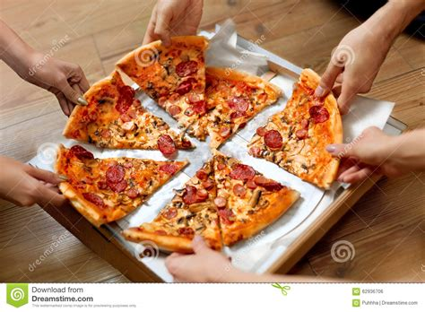 Eating Food People Taking Pizza Slices Friends Leisure