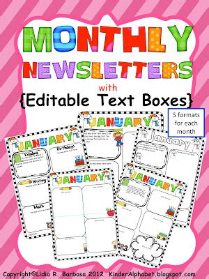 Newsletter Templates With Monthly Themes Perfect For Weekly/monthly Communication With School ...