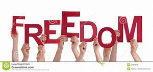 Many People Hands Holding Red Word Freedom Stock Photo ...