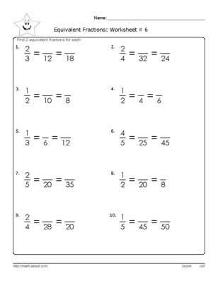 equivalent fraction worksheets 6th grade math