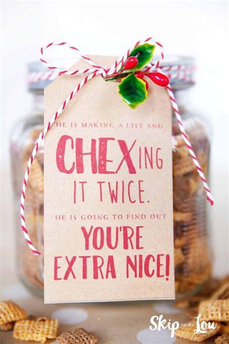 chex mix  gift tag neighbor christmas gifts teacher