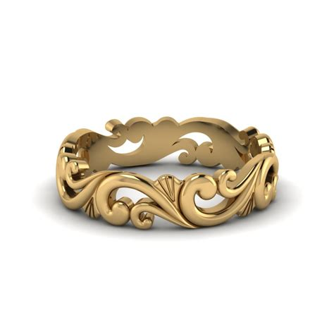 filigree simple gold wedding band for in 14k yellow