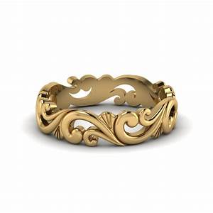 filigree simple gold wedding band for women in 14k yellow With wedding rings filigree womens