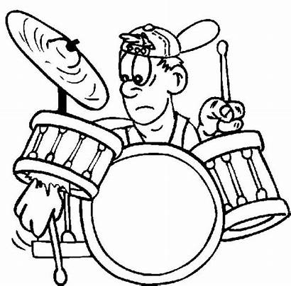 Coloring Rock Drum Pages Band Drummer Roll