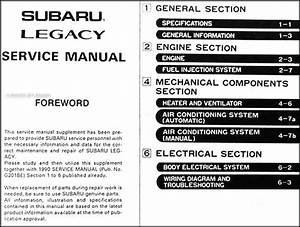 1990 Subaru Legacy Repair Shop Manual Supplement Original