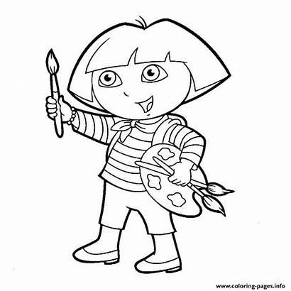 Paint Coloring Dora Pages Printable Prints
