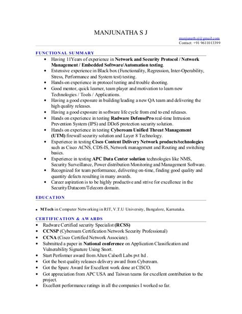 Protocol For Emailing Resumes by 11 Year Exp Network Protocol Testing Manjunathasj Resume