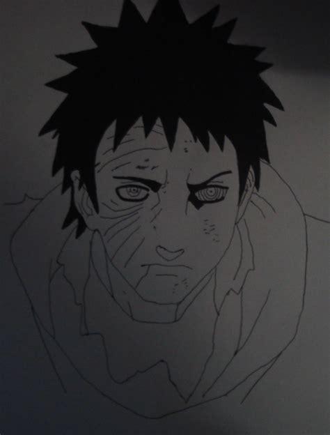 uchiha obito drawing black  white  xlleonardo