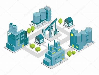 Factory Isometric Illustration Production Oil Vector Building