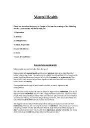worksheets mental health reading comprehension