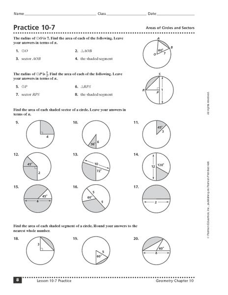 Practice 107 Areas Of Circles And Sectors Worksheet For 10th  12th Grade  Lesson Planet