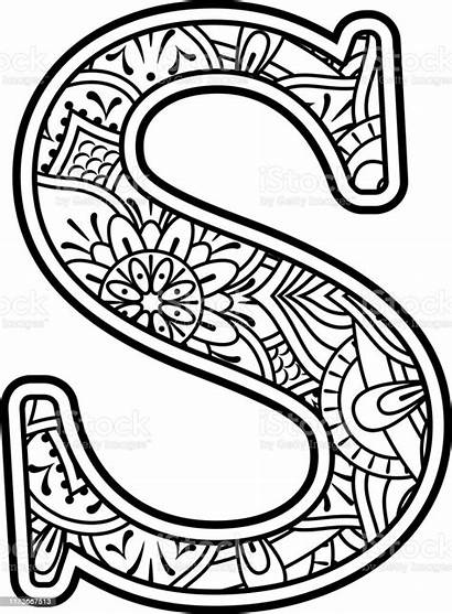 Mandala Coloring Lettre Initial Coloriage Doodle Arte