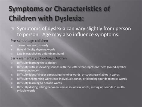 ppt dyslexia powerpoint presentation id 844548 865 | symptoms or characteristics of children with dyslexia n