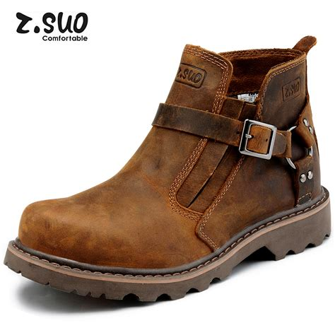 real leather biker boots aliexpress com buy 2014 zsuo fashion pointed toe men