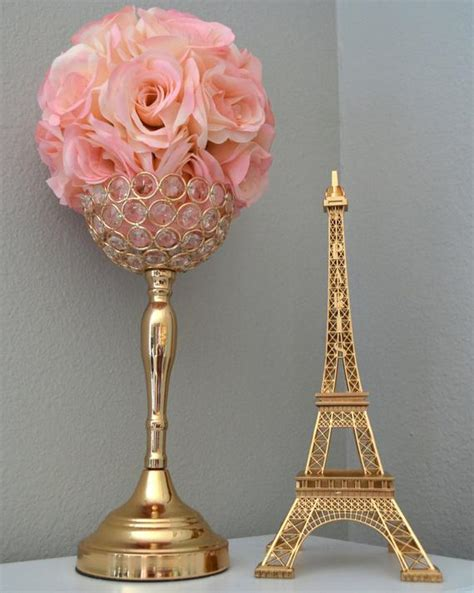 gold eiffel tower centerpiece parisians theme decor paris