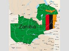 Abstract vector color map of Zambia country colored by