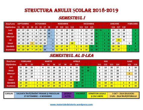 structura anului scolar calendar scolar materiale de istorie