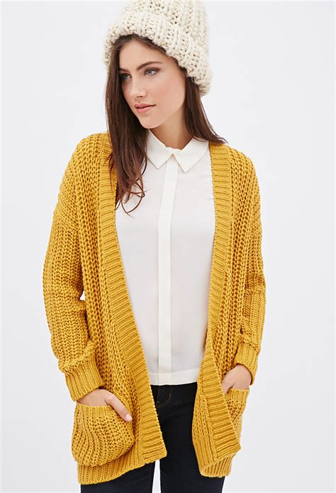 yellow cardigan sweater forever 21 purl knit cardigan in yellow lyst