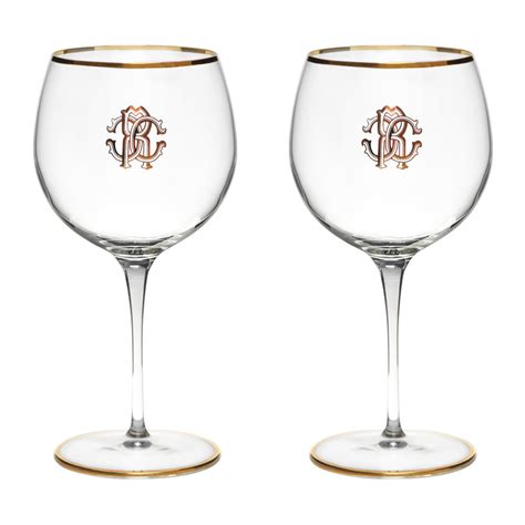 buy roberto cavalli monogram large wine glasses set   gold amara