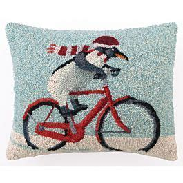 Christmas Pillow   Biking Penguin Pillow Scott Church