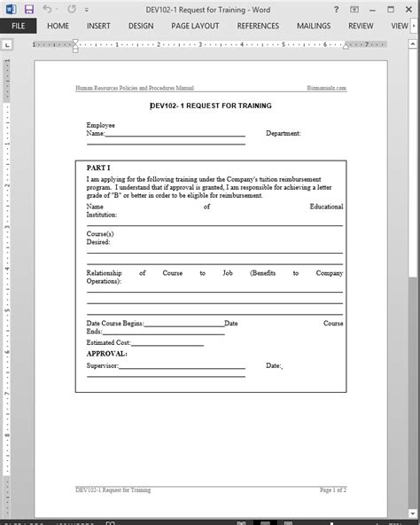 Training Course Request Form Template by Training Request Template