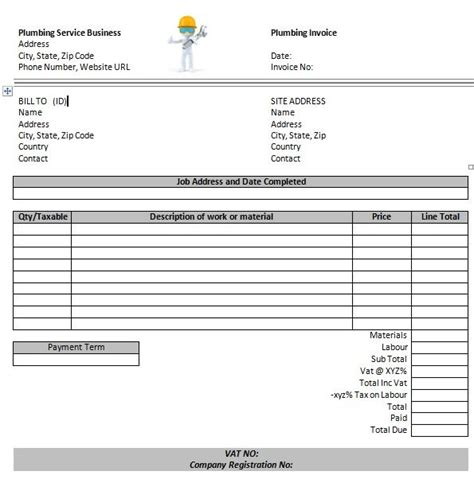 plumbing invoice templates  invoice template