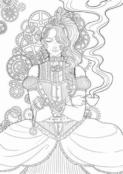 Coloring Woman Steampunk Coffee Pages Adults Victorian
