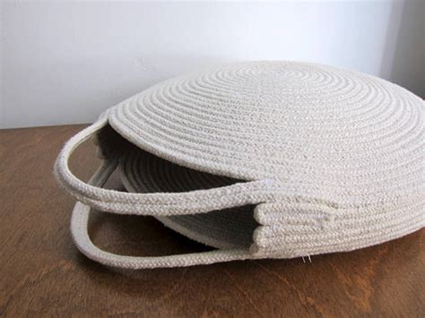 white basket bag  circle purse coiled rope