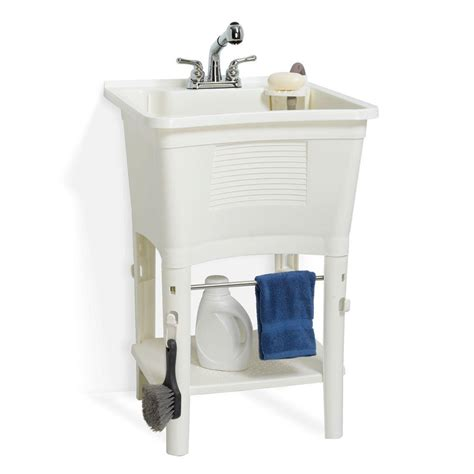 glacier bay laundry tub glacier bay lt2007wwhd 24 in x 24 in polypropylene