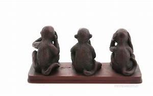 Statue Singe De La Sagesse : 3 singes de la sagesse resine statue artisanat fait main ~ Teatrodelosmanantiales.com Idées de Décoration