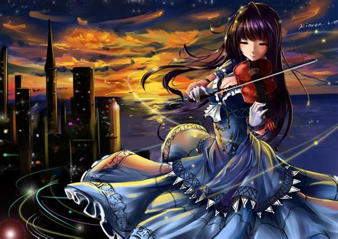 Find the best anime wallpapers on wallpaperaccess. violin, Kinven, Dress, Anime, Girls, Original, Mood, City, Bikeh Wallpapers HD / Desktop and ...