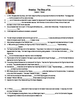 america the story of us episode 1 worksheet answers geotwitter kids activities