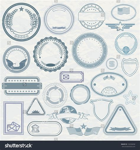 Empty Template Of Rubber Stamps. Customizable Vector