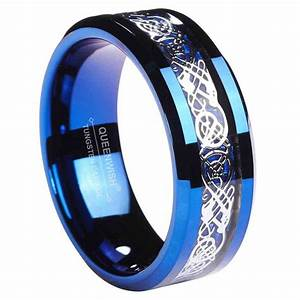 mm blue mens engagement rings tungsten carbide ring celtic With mens wedding rings blue